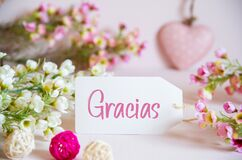 Rose Spring Flowers Decoration, Label, Heart, Gracias Means Thank You