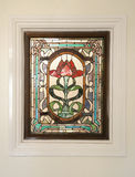 Rose stain glass window Stock Photo