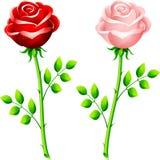 rose stem för rosa realistisk red royaltyfri illustrationer