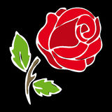Rose stencil. On black background Royalty Free Stock Image