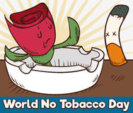 Rose Stopping to a Cigarette in World No Tobacco Day, Vector Illustration. Cartoon poster with an ashtray and a rose saying no to a cigarette symbolizing the Stock Photo
