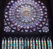 Rose strained glas window of Cathedral Notre Dame Stock Images
