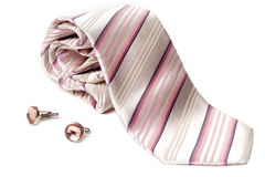 Rose striped tie and cuff links Stock Photos