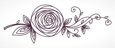 Rose. Stylized flower hand drawing Stock Image