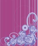 Rose su una priorità bassa viola in una striscia royalty illustrazione gratis