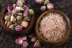Rose sugar with flowers Royalty Free Stock Image