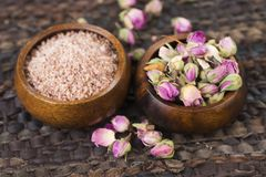 Rose sugar with flowers Royalty Free Stock Photography