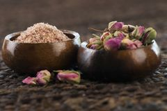Rose sugar with flowers Royalty Free Stock Images