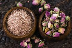 Rose sugar with flowers Royalty Free Stock Photo