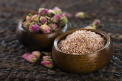 Rose sugar with flowers Stock Images