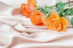 Rose sul tessuto del raso Fotografia Stock