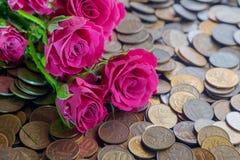 Rose sulle monete immagine stock