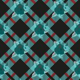 Rose sur l'illustration blanche bleue de vecteur de fond de plaid de tartan de Diamond Chessboard illustration stock