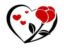 Rose sur le coeur 2 Photo stock