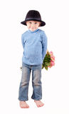 Rose surprise. Cute little boy with bunch of roses Royalty Free Stock Photo