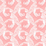 Rose swirl pattern background. Beautiful rose card in red and white colors. Gentle flower background. Seamless floral pattern. Endless vector texture Royalty Free Stock Images