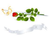 Rose and sword Royalty Free Stock Photo