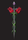 Rose sword. Roses wrapping around sword, tattoo style Royalty Free Stock Images