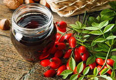 Rose syrup. The thick syrup made from rose hips Stock Image