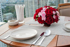 Rose table dinner Royalty Free Stock Photos