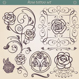 Rose tattoo floral silhouette set, element for design Stock Photography
