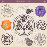 Rose tattoo floral silhouette set, element for design Royalty Free Stock Photo