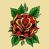 Rose Tattoo old school vector design illustration royalty free illustration