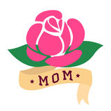 Rose tattoo with ribbon and word mom Stock Photos