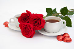 Rose and tea Royalty Free Stock Images