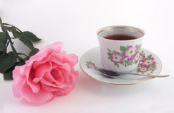 Rose tea. A cup of rose tea to take a break stock images