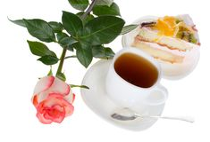Rose tea and cake Stock Images