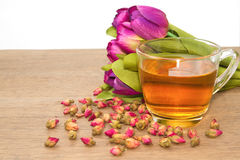 Rose Tea Cup with bud tea rose Stock Photo