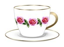 Rose Tea Cup en Schotel royalty-vrije stock afbeelding