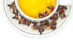 Rose Tea Cup met knopthee nam toe royalty-vrije stock foto's