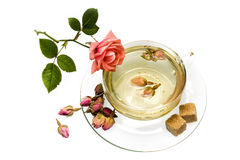 Rose tea. Fragrant and tasty tea made ​​of dried rose buds Royalty Free Stock Photo