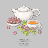 Rose tea on grey background. Illustration with cup of tea, teapot and roses on grey background Royalty Free Stock Photos