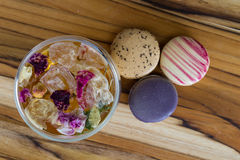Rose tea and macaroons Stock Image