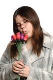 Rose teenager della holding Fotografia Stock