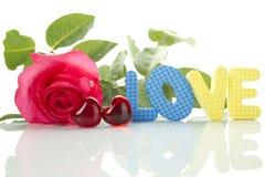 rose text för förälskelsered Arkivfoton