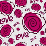 Rose and text love. Seamless pattern. Rose and love text on a gray background. For printing on packaging, bags, cups, laptop, furniture, etc. Vector Royalty Free Stock Image