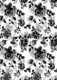 Rose Textile Illustration Art negra Foto de archivo libre de regalías