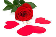 Rose with three hearts and rings Stock Photo