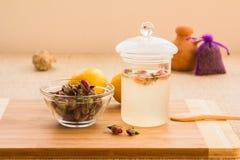 Rose tonic tea preparation set Stock Photos