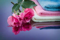 Rose and towel. Are reflected in the color mirror Royalty Free Stock Photo