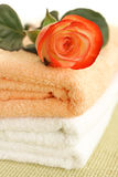 Rose and towels Royalty Free Stock Images