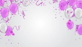 rose, transparent blanc avec le ballon d'hélium de confettis d'isolement dedans illustration stock