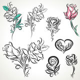 Rose of tribal tattoo set Stock Photo
