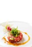Rose tuna tartar. On white background Stock Photos