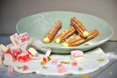 Rose Turkish delight Churros. Hand made artisan churros with new creative flavors in a styled product shoot Stock Photo