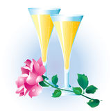 Rose and two glasses. Stock Images